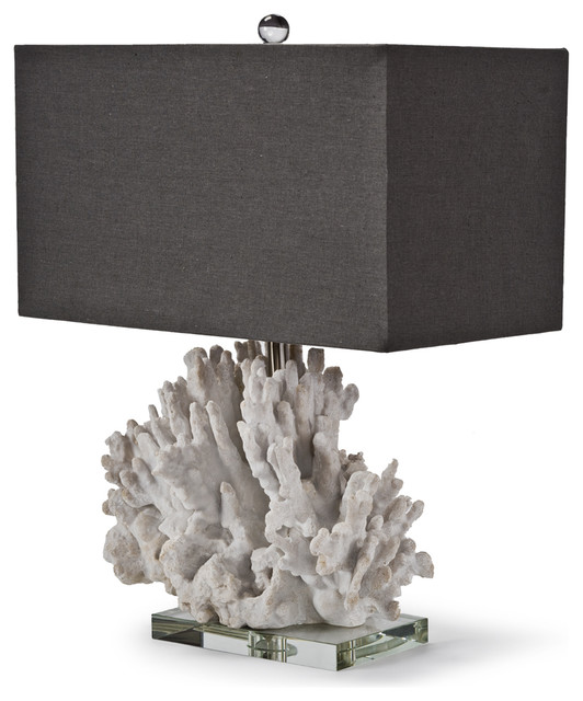 Monterey Coastal Beach Charcoal White Coral Table Lamp transitional-table-lamps