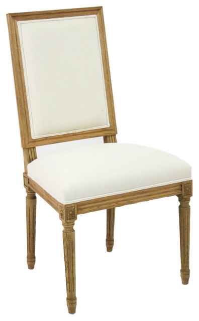 Side Chair  Natural Oak with Off White Linen farmhouse dining chairs