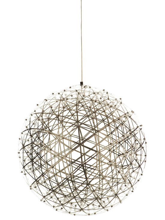 Moooi - Raimond LED Suspension - Raimond non-dimmable LED suspension in stainless steel has intricate spheres transporting LED terminals to create an atmospheric ambiance. Small: 92 20 watt, 120 volt 2700K LED modules are included. 16.9 inch diameter. Medium: 162 30 watt, 120 volt 2700K LED modules are included. 24 inch diameter. Large: 252 35 watt, 120 volt 2700K LED modules are included. 35 inch diameter. Includes power supply and canopy in Stainless Steel. General light distribution.��Includes 156 inch field adjustable suspension cable.