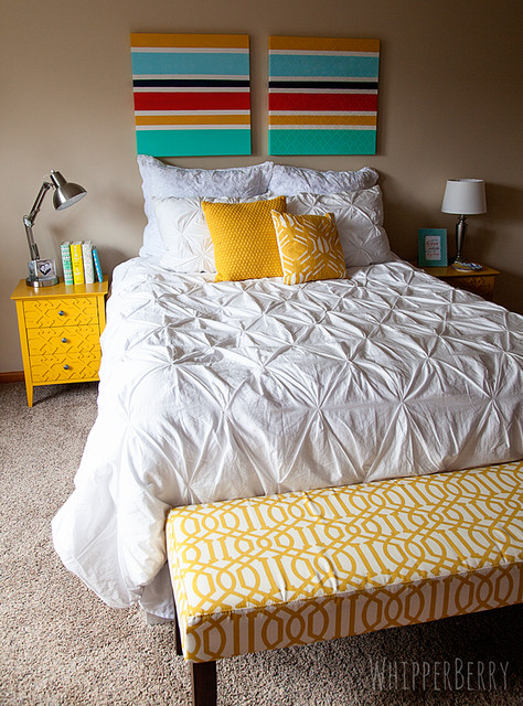 Bright accents on an all white bed contemporary-duvet-covers