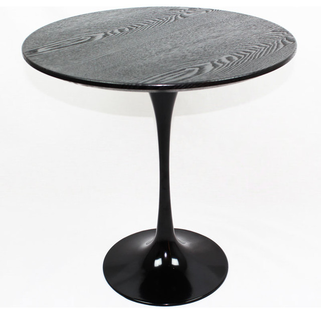 Mid-Century Modern Tulip Side Table, Black Wood