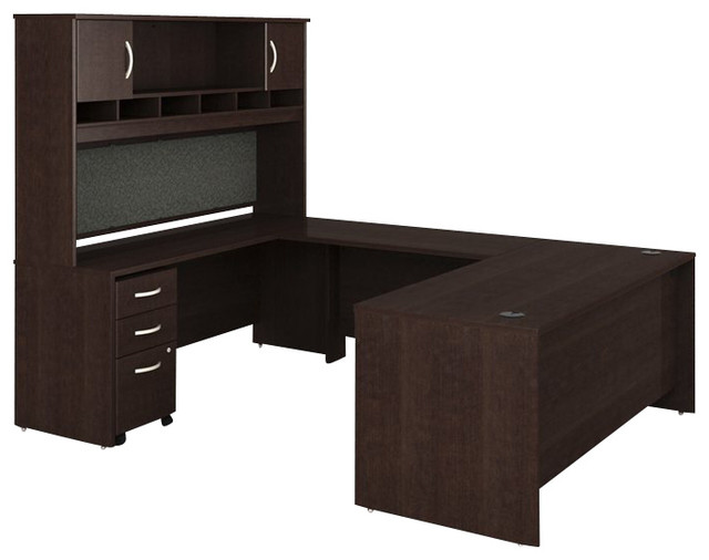 Bush Series C 5-Piece U-Shape Computer Desk in Mocha Cherry transitional-desks