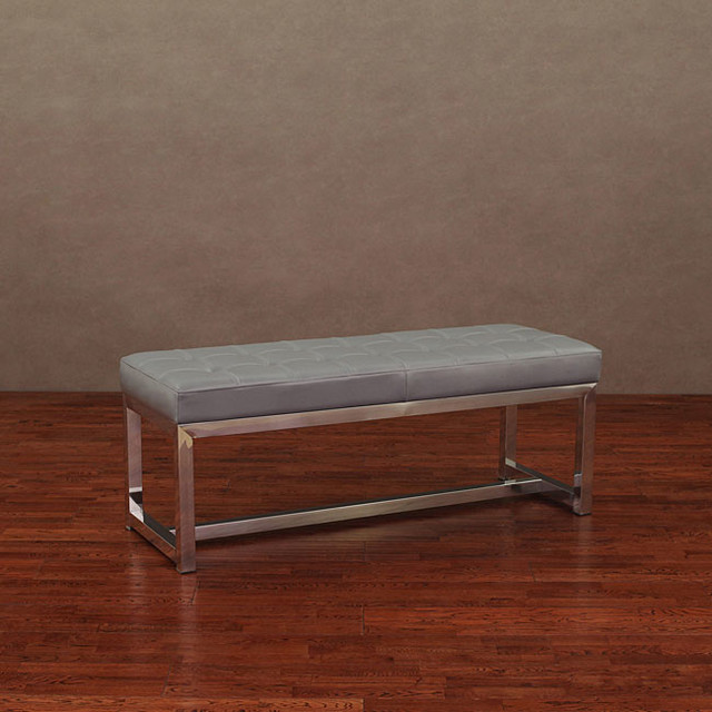 Liberty Charcoal Grey Leather Bench Contemporary