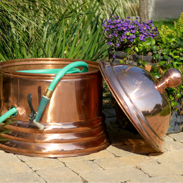 Palm Beach Copper Hose Pot - eclectic - outdoor decor - atlanta