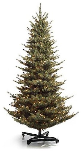Pre-lit Slim Yellow Spruce Artificial Christmas Tree. with FlipTree Stand & Stor traditional-holiday-decorations