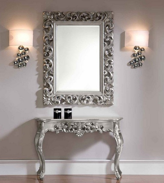 Console And Mirror Set In Silver Traditional Side