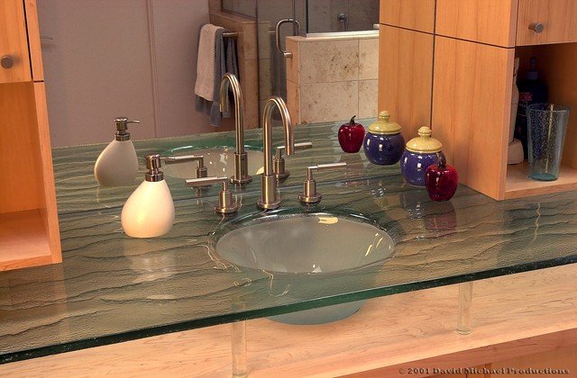 Slumped Glass Vanity Contemporary Bathroom Sinks Seattle By Glasswork
