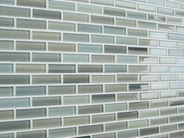 "Bodesi Wintermoss Hand Crafted Glass Mosaic Tile 4""x6"" Sample modern-tile"