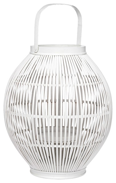 Bamboo White Lantern tropical-candles-and-candle-holders
