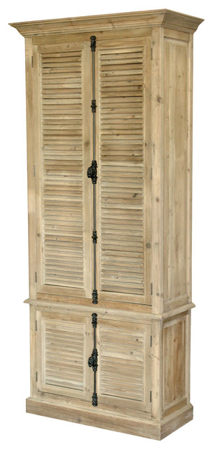 French Country Reclaimed Wood Louvered Door Hutch Cabinet