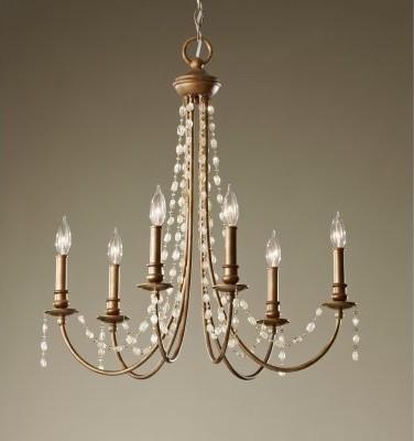 Murray Feiss Aura F2712 / 6RUS Chandelier - 26.88W in. - Rustic Silver modern-chandeliers