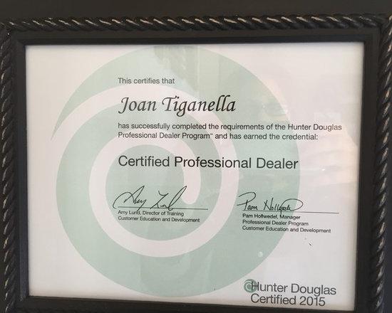 Hunter Douglas Certified Professional Dealer -