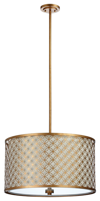 Large Round Lattice Antique Brass Metal Filigree Pendant Lamp transitional-pendant-lighting