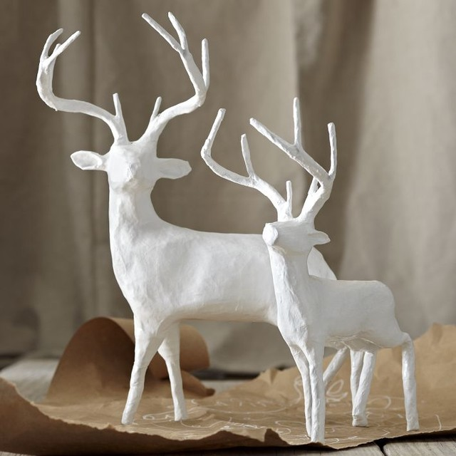 Papier-Mâché Reindeer modern holiday decorations