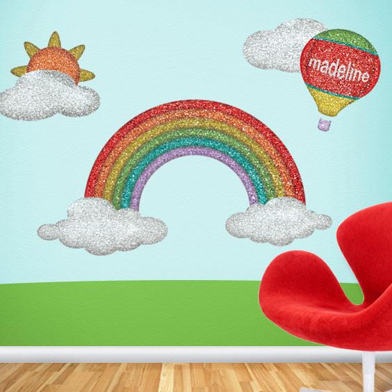 Rainbow Wall Decor Stickers : Disco rainbow wall stickers contemporary kids