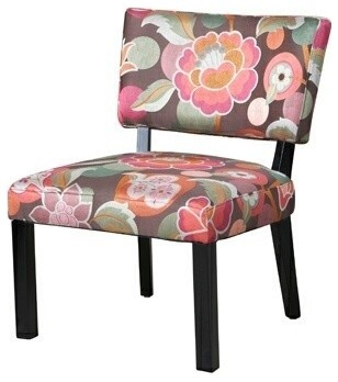 Pink And Brown Floral Accent Chair contemporary-living-room-chairs