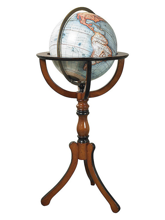 """Inviting Home - Library Globe With Floor Stand - Library globe with floor stand 19"""" x 19"""" x 37-3/4""""H No Renaissance library reception room or merchant's office was complete without a large globe on a stand. Mapmakers and globe publishers issued new globes every year keeping clients up to date on the latest discoveries and explorations. New trade routes, new ports of call, even new continents! Our 12-1/2"""" globe with floor stand is the classical form used over the centuries."""