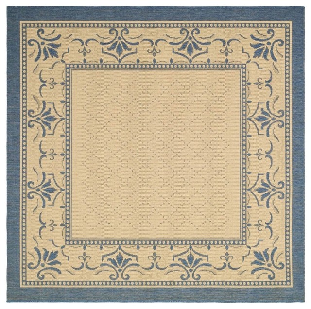 Contemporary Outdoor Patio Rugs :  Square 67 Square Natural  Blue Area Rug contemporaryoutdoor