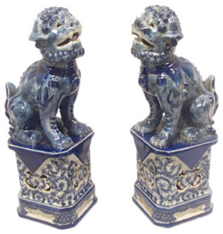 Blue and White Foo Dogs - China Furniture Online asian-fireplace-mantels