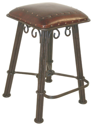 Western Iron Counter Stool In Antique Brown Modern Bar