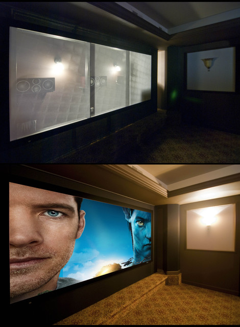 Theater Room- 2:35 HD 3D Front Projection 7.4 Channel traditional-home-theater