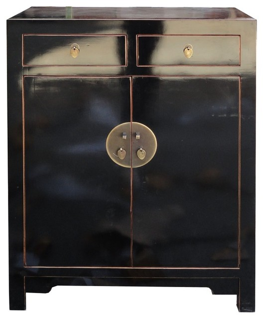 Chinese Black Lacquer Narrow Tall Foyer Shoes Cabinet ...