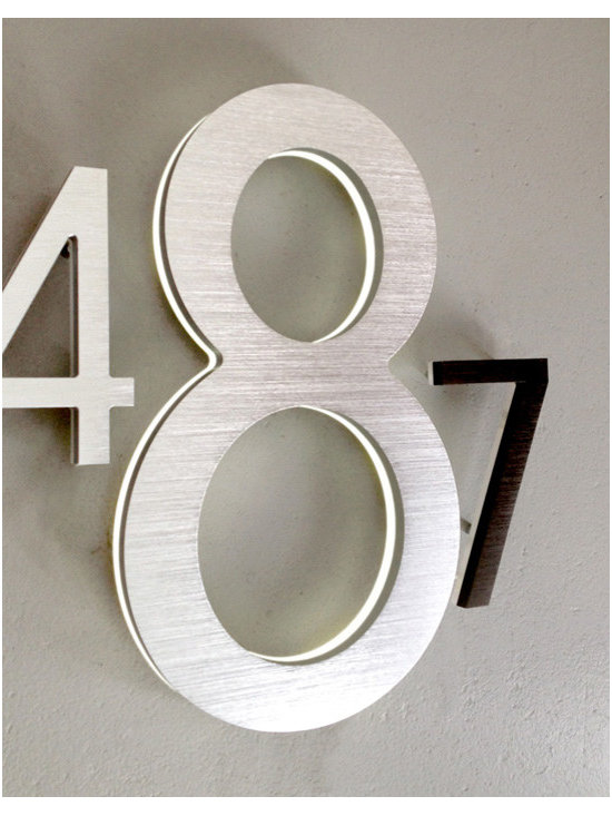 """Luxello - Modern 8"""" and 10"""" Illuminated House Numbers Outdoor - The Luxello Modern 8"""" Address Numbers and the larger 10"""" Building House Address Numbers are large exterior LED illuminated House Numbers suitable for outdoor houses and commercial buildings installations that require a high visibility of large numbers."""