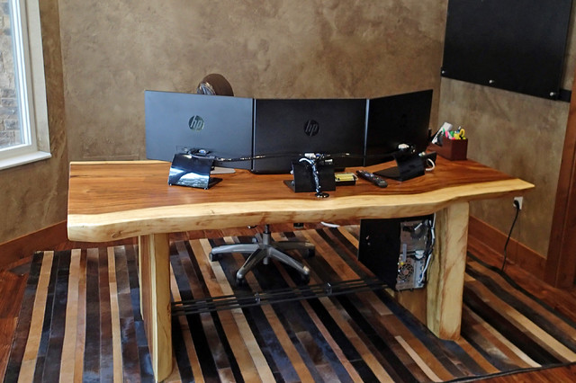 custom natural edge desk with unique steel trestle mediterranean desks