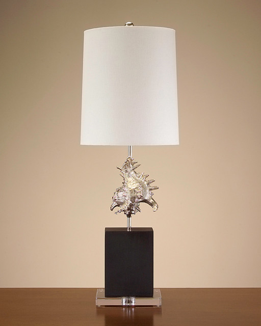 John Richard 34'' Silver Plated Shell Lamp contemporary-table-lamps