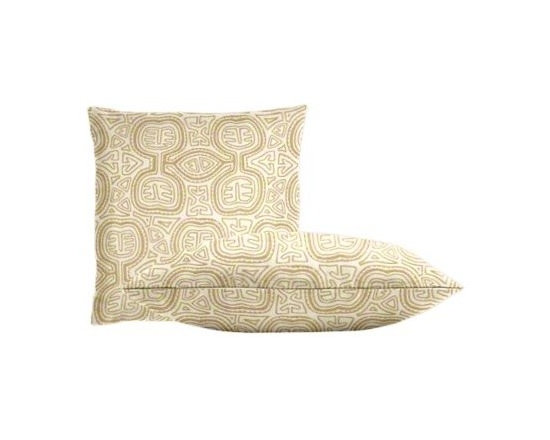 """Cushion Source - Sunbrella Kuna Sand Throw Pillow Set - The Sunbrella Kuna Sand Outdoor Throw Pillow Set consists of two 18"""" x 18"""" throw pillows featuring a globally-inspired pattern in white, sand, and eggshell."""