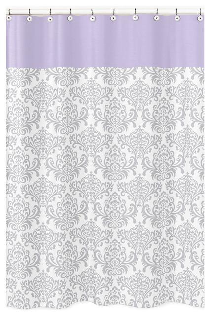 Sweet Jojo Designs Elizabeth Gray & Lavender Kid's Shower Curtain contemporary-shower-curtains