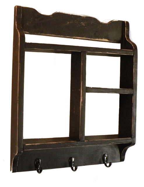 wall shelf w hooks display and wall shelves by craft. Black Bedroom Furniture Sets. Home Design Ideas