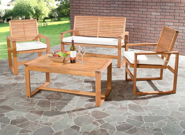 Outdoor Living Cushioned Brown Acacia Wood 4 Piece Patio