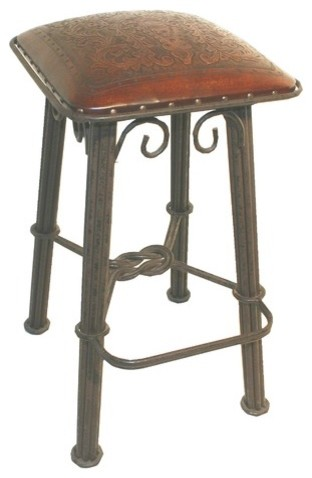 Colonial Western Iron Barstool in Antique Brown modern-bar-stools-and-counter-stools