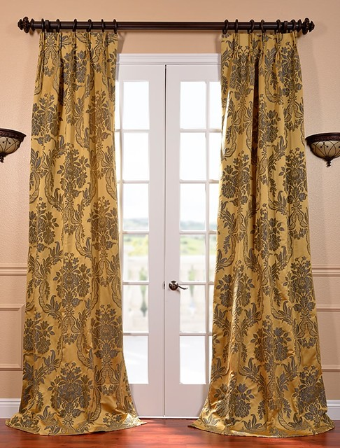 Magdelena Gold & Blue French Pleat Faux Silk Jacquard Curtain traditional-curtains