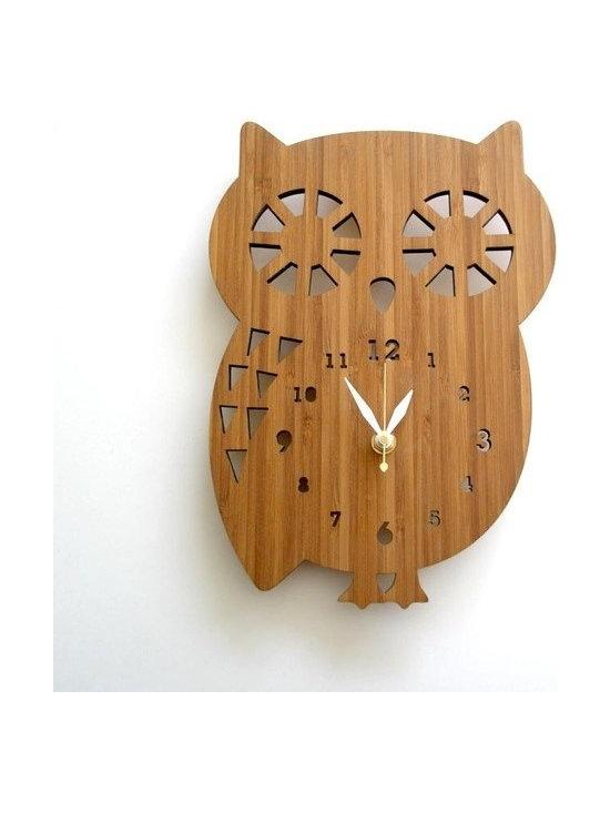 Buddy Owl Bamboo Clock -