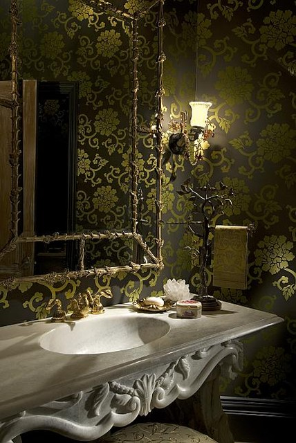 Houston Estate eclectic-powder-room