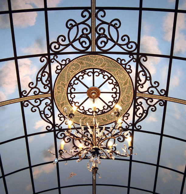 Art Deco Ornamental Ironwork: Hand Painted Wrought Iron Decorative Art In Ceiling And