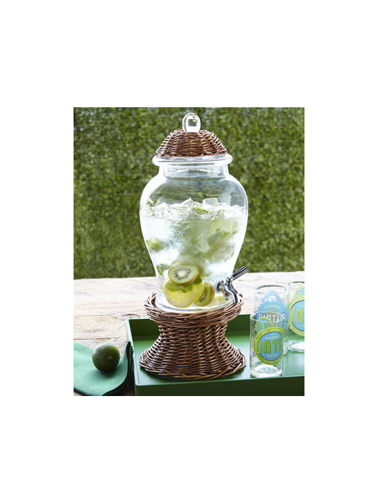 "Horchow - Willow Glass Beverage Dispenser - Nothing refreshes quite like a cool beverage on a warm day, and this slightly rustic beverage dispenser keeps a plentiful supply at the ready for any occasion. Made of wicker and glass. Hand wash. 7.5""Dia. x 18""T. Imported."