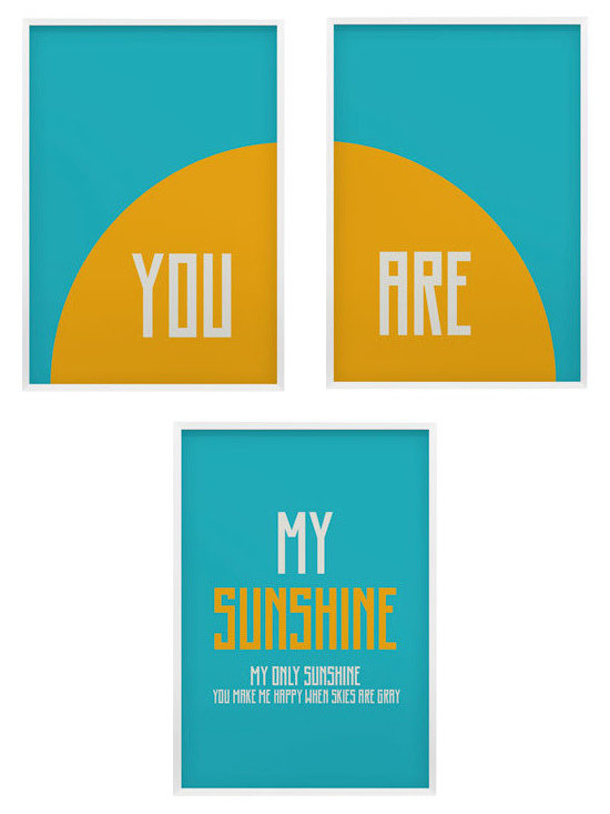 You are my sunshine nursery wall art set of three prints, 24x36 - you are my sunshine- so many of my smiles begin with you-you make me happy when skies are gray nursery art set.