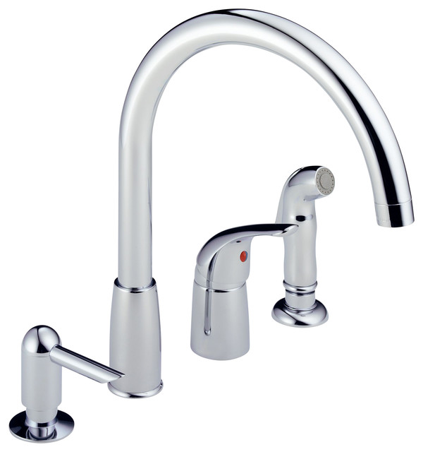 delta single handle widespread kitchen waterfall with soap shop delta pilar waterfall chrome 2 handle deck mount high