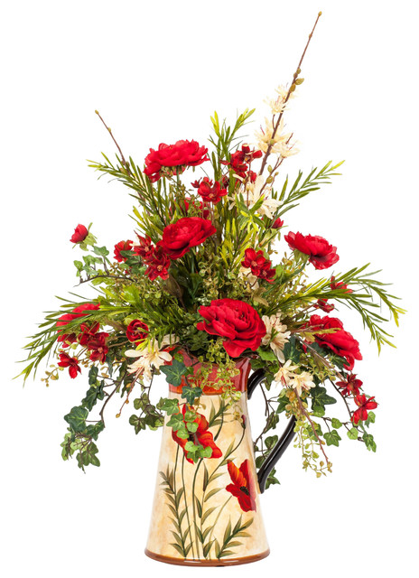 Red and Cream Silk Floral Arrangement in a Poppy Pitcher traditional-artificial-flowers-plants-and-trees