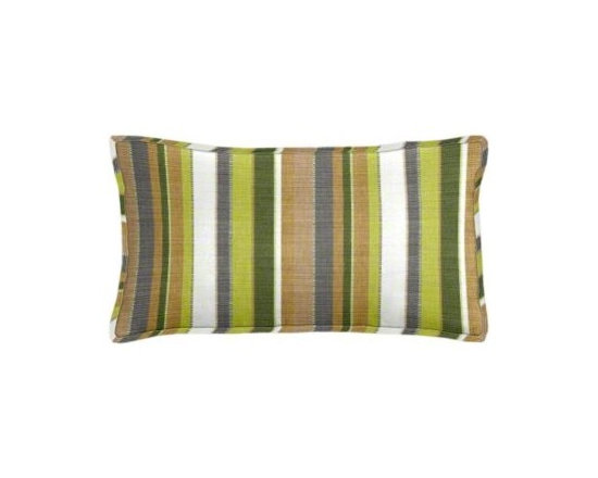 "Cushion Source - Sunbrella Carousel Limelite Outdoor Lumbar Pillow - The 20"" x 12"" Sunbrella Carousel Limelite Outdoor Lumbar Pillow features various-sized stripes in a natural palette of palm, chartreuse, beige, white, and gray."
