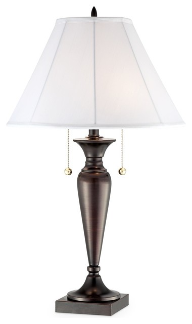 Contemporary Modern Dark Bronze 2-Light Table Lamp traditional-table-lamps