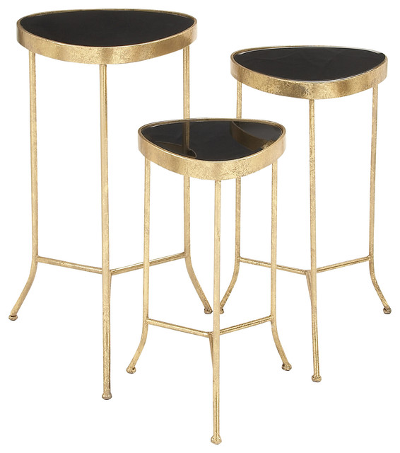 Metal glass accent table set of 3 contemporary side tables and end