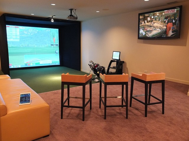 golf simulator room contemporary chicago by tech tonic llc