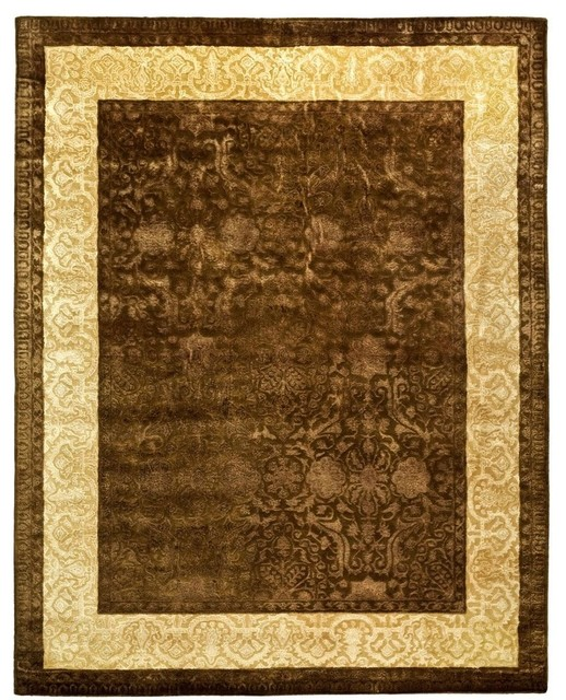"Traditional Silk Road 8'3""x11' Rectangle Chocolate - Light Gold Area Rug traditional-rugs"