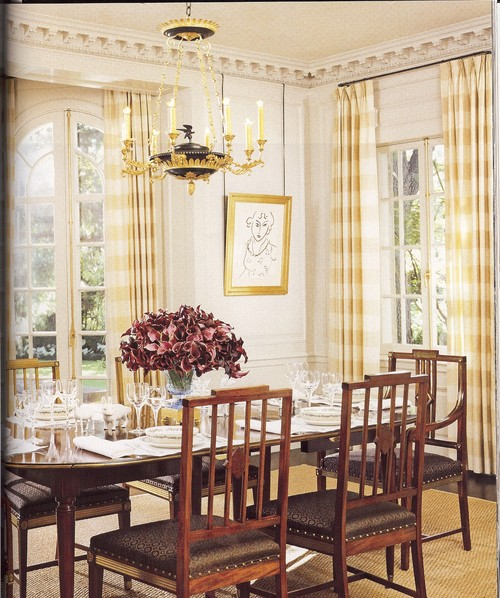 Dental Crown molding with yellow gingham curtains, rounded French Doors, white walls, sisal rug ...