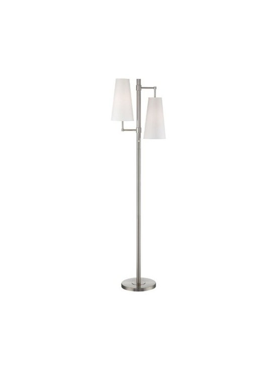 Lite Source Lighting - Floor Lamp with Two Lights in a Polished Steel Finish - LS-82037 - Polished steel floor lamp with two white fabric shades. Includes two 13-watt compact fluorescent bulbs. Takes (2) 13-watt compact fluorescent spiral bulb(s). Bulb(s) included. UL listed. Dry location rated.
