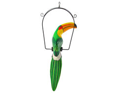 Wood Green Toucan Bird on Metal Perch Hanging Statue 23 Inch tropical-sculptures